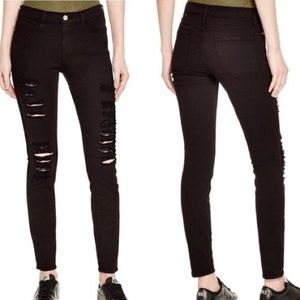 Frame Le Skinny De Jeanne Mid-Rise Distressed Jean